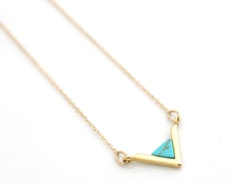 Tiny Gold Triangle Necklace, V Necklace, Small Everyday Necklace, Turquoise Necklace, Sterling Silver Chevron Necklace, Minimalist Necklace