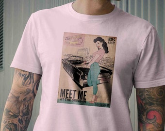 Meet Me At The Drive In - Pin-up Rockabilly Vintage Inspired Mens Crew Neck Tee Shirt,S M L XL 2XL 3XL