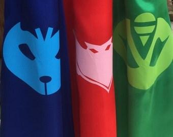 ADULT PJ masks cape ~ PJ Masks Costume ~ Gekko, Catboy & Owlette birthday party favors, - superhero capes
