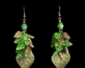 Autumn Comes - Genuine Brass and Czech Glass Leaf Cluster Dangle Earrings