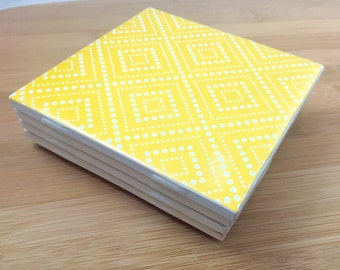 Yellow Coasters, Ceramic Tile Coasters, Set of 4, Drink Coasters
