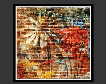 Graffiti Painted Daisies -Wall Decor- instant digital download