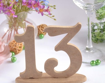 Wedding numbers 1-13 Wooden number set Wooden wedding set of numbers Table decor Table numbers Rustic wedding decor Elegant table numbers