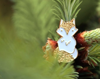 Little Forest Fox Enamel Pin, White and Gold
