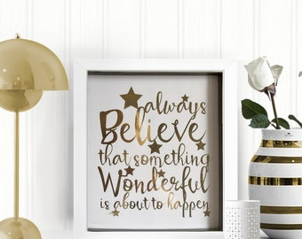 Gold Foiled Quote Picture Print - Stunning Artwork - Home Decor - Gold Picture - Wedding Gifts - Inspirational - A4