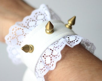 Angelik Cuffs, White and Gold Spiked Faux Leather Hand Cuffs with Lace