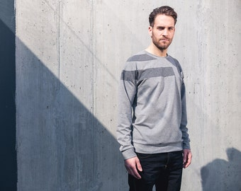 Elements sweater grey - casual sweatshirt with patchwork design details