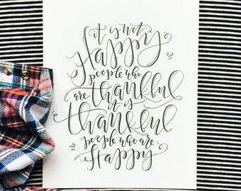 Thankful People Calligraphy Print, Hand-lettered Autumn Quote, Handmade Calligraphy Wall Hanging