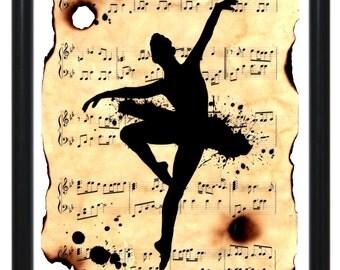 Original One-of-a-kind Art on Sheet Music - Ballerina splatter a