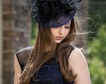 Navy & Black Feathered Netted Fascinator