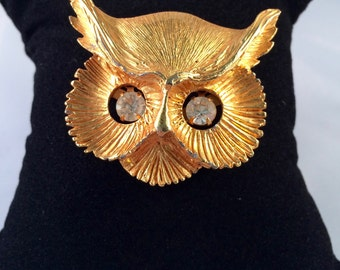 Beautiful Vintage Gold-plated Owl Head Brooch/Pendant with Moving Rhinestone Eyes