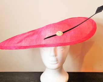Bright pink fascinator hat with black feather, teardrop fascinator, hot pink fascinator, hot pink hat, wedding hat, wedding fascinator