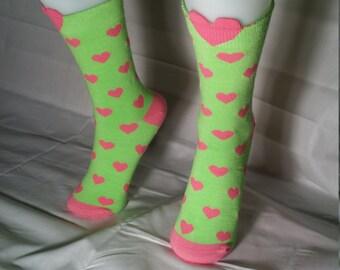 Green Sock Pink Heart