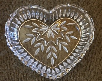 Vintage crystal heart dish, candy dish, serving dish