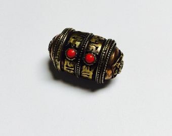 Three Metal Bead made in Nepal - 1 Piece - #437