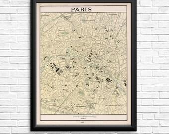 Paris France Vintage Atlas Page