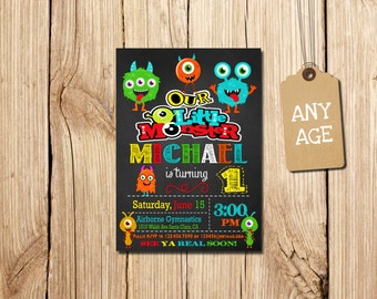 Little Monster Invitation, Little Monster, First Birthday Invitation, Monster Birthday Invitation, Little Monster Invitations