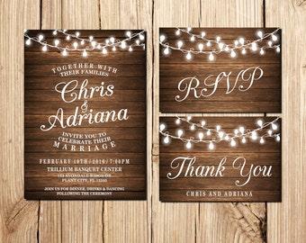 Wedding Invitation, Printable Wedding Invitation, Rustic Wedding Invitation, Marriage, Wedding, RSVP Card, Thank You Card