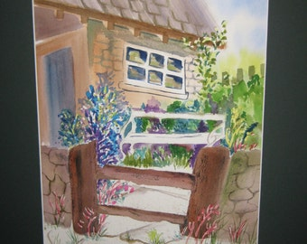16x20 Watercolor, Country Cottage, Original, matted, included