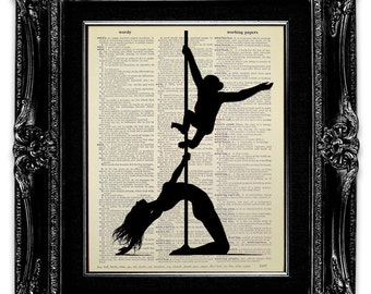 Silhouette Print, Funny Gift for Her, SILHOUETTE Wall Art, Adult Humor GAG Gift for Men Women, HUMOROUS Art, Pole Dance Fitness Monkey Print