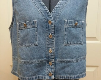 Vintage 90s Denim Vest with Daisy Buttons