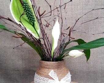 Wedding Centerpieces , Jute Vase, Burlap Vase, Glass Jars, Rustic Wedding Decor, Farmhouse Chic Vase, Rustic Vase, Glass Vase
