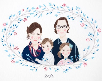 Custom Illustrated Family Portrait // winter wreath design