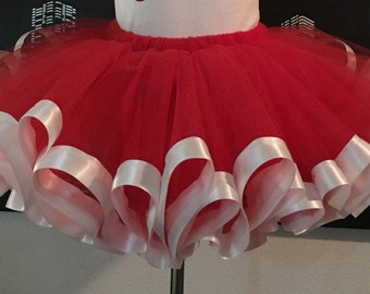 Red and White Teen and Adult Christmas Tutu Skirt, Plus Size, Adult, Teen, Parties, Dance, Pageant, Christmas