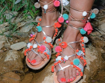 "Rose Gold Lace Up, Decorated Sandals, Women Leather Shoes, Summer Shoes, Greek Handmade Sandals, ""Flowers"""