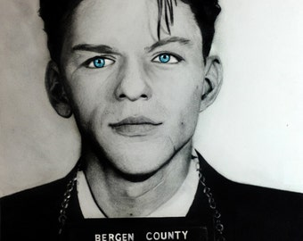 Ole Blue Eyes - Frank Sinatra Sinatra Mugshot Print from graphite pencil drawing