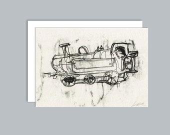 Steam train A6 greeting card