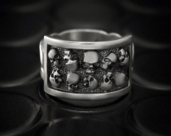 sale 40 off skull men ring skull silver signet ring men large - Skull Wedding Rings For Men