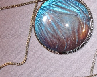 Vintage Silver Morpho Butterfly Wing Pendant and Chain