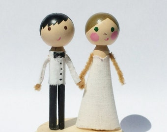 Custom Bride & Groom - clothespin dolls, wedding, cake topper, prickly painter