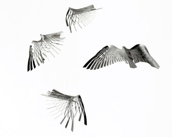Modern Mobile of Metal Art in bird shape, Kinetic Minimalist Mobile art - Bird by Expand Life