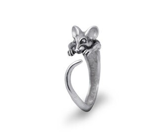Mouse Jewelry, Mouse Ring, Ajustable ring / Solid sterling silver (silver 925)