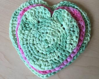 Heart Scrubbies, set of 3