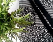 Quilted tote bag, floral and stripes black and white handmade
