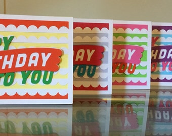 Set of 5 Handmade Birthday Cards, Greeting Cards, Paper Greeting Cards