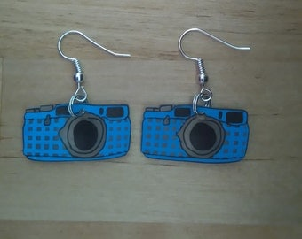 Earrings blue camera