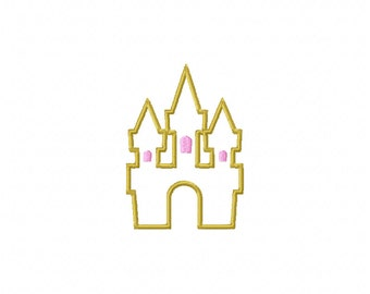 4x4 castle embroidery design,castle applique design, machine embroidery castle, machine applique,princess castle