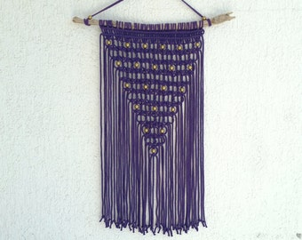 Starry Sky in Purple and Gold - Modern Macrame / Wall Hanging / Boho Decor / Purple Interior / Wall Art/ Wandbehang / Wandschmuck /Makramee