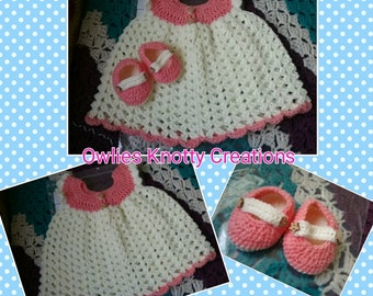 Hand Crocheted Baby Dress and Shoe Set