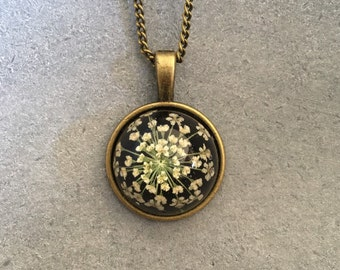 White Queen Anne Lace in a Dainty Cabachon Antique Bronze Bezel, Resin Pendant, Resin Necklace