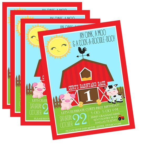 Boy Birthday Invitation Petting Zoo Party Farm Birthday