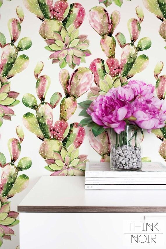 Cactus Removable Wallpaper Watercolor Self Adhesive Regular