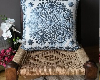 Embroidered Cushion cover by hand - embroidery Mohan natural silk