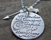 Motivational Jewelry, meaningful necklaces - I can do all things through Christ who strengthens me Quote Necklace, Religious Necklaces
