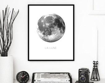 MOON PRINTABLE | La Lune Print | Moon Print | Moon Wall Art | Moon Wall Print | Digital Moon Print | Full Moon | Moon Printable