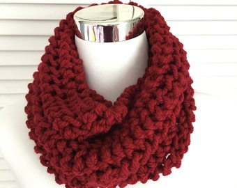 Deep Red Knitted Infinity Cowl Scarf